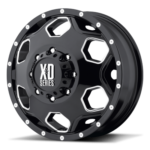 XD815 Batallion Dually Gloss Black Milled Wheels Front