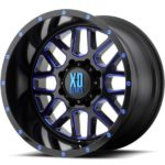 XD820 Satin Black Milled Wheels with Blue Tint