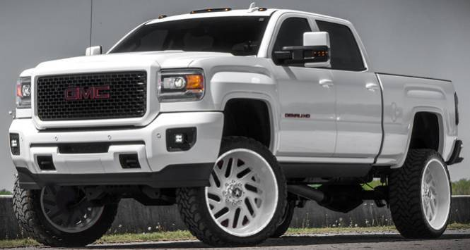 "26"" White American Force Wheels on GMC Truck"